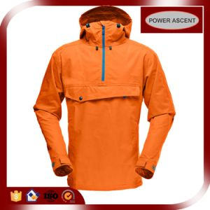 2016 Mens Orange Pullover Waterproof Packable Hood Windbreaker pictures & photos
