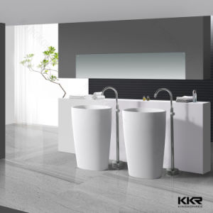 White Solid Surface Matte Finished Pedestal Basin (KKR-1394) pictures & photos