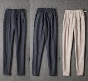 2015 Autumn Winter Unique Design Women Leisure Elastic Waist Trouser Pencil Pants pictures & photos