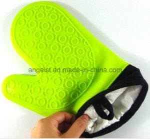 Short Silicone Oven Glove with Cotton Fabric Sg05 pictures & photos