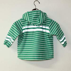 Green Stripe Reflective PU Rain Jacket/Raincoat pictures & photos