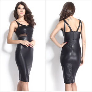 2015 Latest Fashion Women Black Faux Leather Sexy Pencil Dress pictures & photos