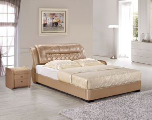 China Manufacturer Wholesale Leather King Bed Luxury Hotel Bedroom Bed pictures & photos