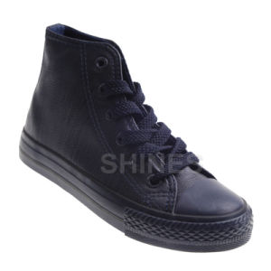 High Top Black PU Vulcanized Shoes for Women
