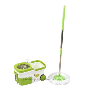 Hand Press Spin Mop with Steel Basket Bucket with Wheel (SL-S009)