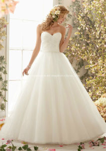 Simple Princess Ball Gown Organza Wedding Bridal Dress pictures & photos