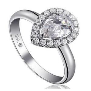 Wonderful Pear Shape Briliant Synthetic Diamond Fashion Wedding Ring Jewelry pictures & photos