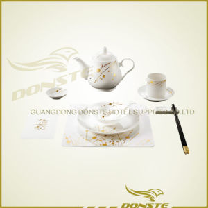 9 PCS Stained Ceramic Golden Set