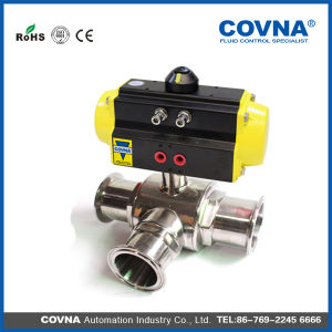 Food Grade 3 Way Sanitary Stainless Steel Pneumatic Ball Valve pictures & photos
