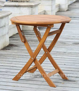 Outdoor Folding Table Nature Color for Patio Garden Lawn Coffee House Backyard Wood Furniture pictures & photos