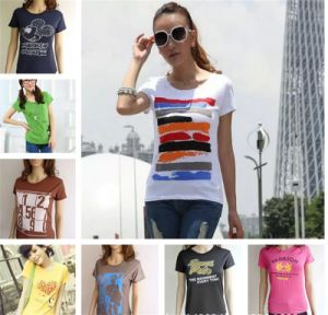 Korean Style Female′s Printed T-Shirt with Various Designs pictures & photos