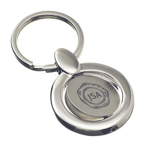 Promotional Rotated Round Shape Spinning Keychain with Engrave Logo (F1340)