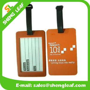 3D Logo PVC Rubber Luggage Tag with Black String (SLF-LT067)