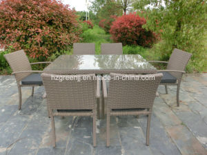 7 Pieces Rectangle Table Dining Set Rattan Outdoor Furniture pictures & photos