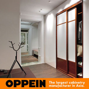 Oppein White and Red Cherry Wood Grain PVC Sliding Wardrobe (YG11545C) pictures & photos