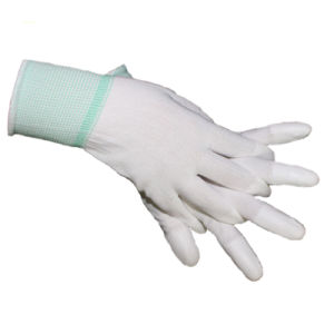Nylon PU Fit Finger Coated Woring Gloves pictures & photos