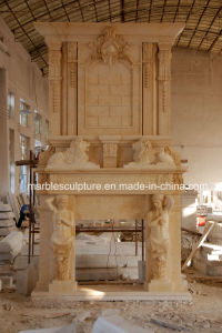 Deep Beige Marble Fireplace for decoration (SY-MF005) pictures & photos