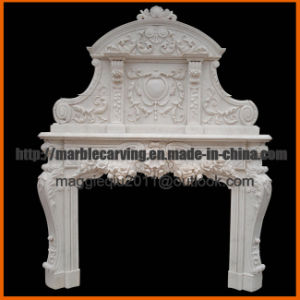 White Marble Double Fireplace Mantel / Marble Overmantel Mf1740 pictures & photos