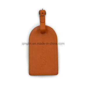 Promotion Gift Orange PU Leather Luggage Tag pictures & photos