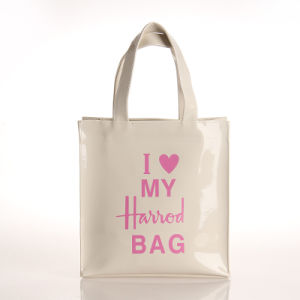 Small Size White Waterproof PVC PU Shopping Bag (H017)