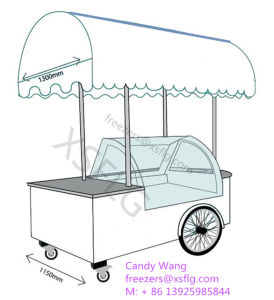 Ice Popsicles Lolly Stick Display Carts Freezers with Wheels for Sale pictures & photos