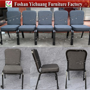 Wholesale Stackable Stacking Blue Fabric Steel Iron Metal Church Chair for Auditorium and Prayer with Kneeler (YC-G38) pictures & photos