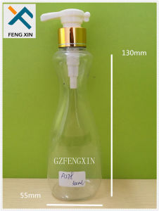 300ml 10oz New Design Pet Plastic Transparent Bottle with Metallic Lotion Pump Packaging for Hair Conditioner and Essential Oil pictures & photos