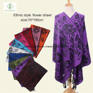 Hot Sale Lady Fashion Pashmina Shawl Ethnic Style Soft Scarf pictures & photos