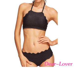 Scalloped Trim Halter Swimwear Bikini pictures & photos