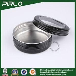 100g 3.3oz Cosmetic Cream Packing Aluminum Pot Skin Care Cream Hair Wax Use Black Color Aluminum Jar with Window Cap pictures & photos