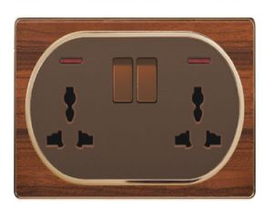 British Standard Wood-Textured Double 13A Multi-Functional Swithed Socket with Neon