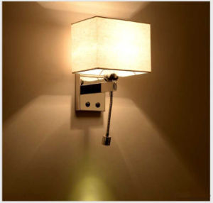 Interior Modern Hotel Bedside LED Gooseneck Wall Lamp Light with Linen Milk White Fabric Shade for Bedside, Chrome Stee pictures & photos