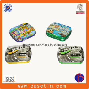 Custom Small Rectangular Hinged Lid Mint Candy Tin Packaging Box pictures & photos