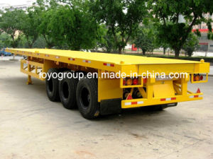 3 Axles 40 FT Flat Bed Semi Trailer for Container pictures & photos