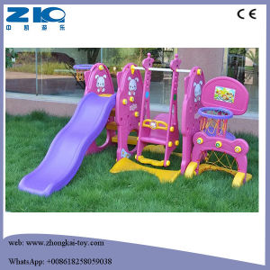 Plastic Kids Indoor Playground Swing and Slide with Basket Set pictures & photos