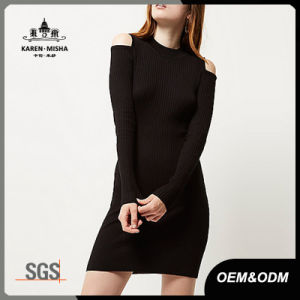 Ladies Cold Shoulder Fashion Sweater Dress pictures & photos