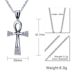 Fashion Titanium Stainless Steel Religious Diamond Amkha Cross Pendant Necklace Jewelry pictures & photos