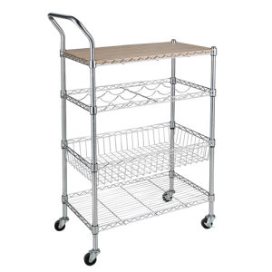 2017 Customized OEM 4 Tier Wire Metal Hotel Housekeeping Maid Cart Trolley pictures & photos