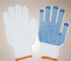 7/10 Gauge Bleached White PVC Dotted Cotton Gloves Useful Work Glove pictures & photos