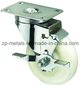 Medium-Duty White PP Swivel Caster Wheel with Side Brake pictures & photos