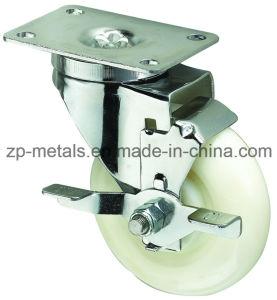 Medium-Duty White PP Swivel Caster Wheel with Side Brake