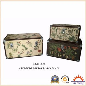 Antique Nesting PU Print Colorful Storage Trunk Wooden Gift Box pictures & photos