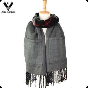 Acrylic Fashion Plaid Pattern Big Pocket Shawl Scarf pictures & photos