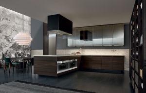 Wooden Grain Fashion Kitchen Cabinet pictures & photos