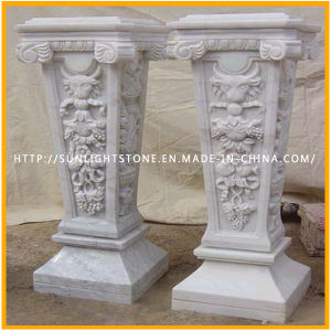 Stone Indoor White Marble Solid Columns with Carving pictures & photos