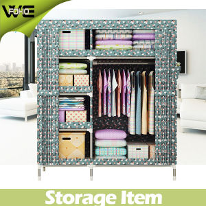 Foho 148 X 170 X 45cm Double Door Furniture Fabric Cloth Wardrobe pictures & photos
