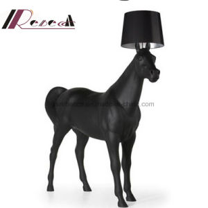 Tall and Big Horse Standing Floor Lamp with Conic Fabric Shade pictures & photos
