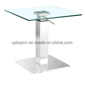 Modern Square Glass Restaurant Table with Lift Leg (SP-CT102) pictures & photos