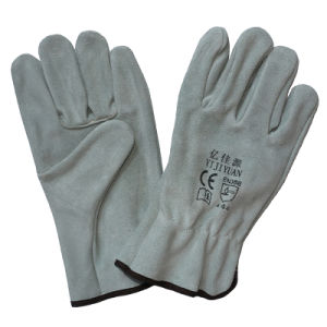 Cowhide Split Leather Hand Protective Safety Drivers Gloves pictures & photos