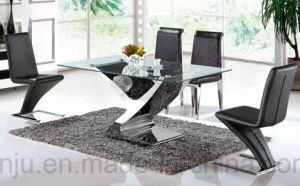Hotel Glass Furniture Stainless Steel Special Design Dining Table (A6033) pictures & photos